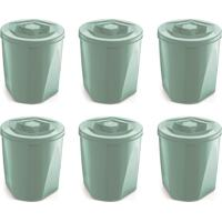 Kit Com 6 Porta Mantimentos Color Verde Menta 7,6 L