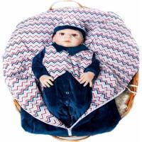 Kit Saída Maternidade Porta Bebê I9 Baby Plush Marinho Listrado