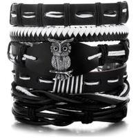 Bracelete 5 Em 1 Pulseira Artestore Em Couro Preta E Branca Com Coruja Em Metal Preto