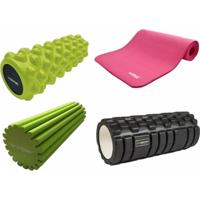 Rolos De Massagem E Relaxamento Proaction + Colchonete Rosa Para Pilates E Yoga Liveup - Unissex