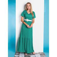Vestido Poá Verde Com Babado Moda Evangélica