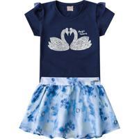 Conjunto De Blusa + Saia Floral- Azul Escuro & Azul-Brandili