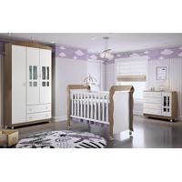 Dormitório Guar. Roupa Ariel 3Pts / Fraldário Ariel E Berço Mirelle Amadeirado