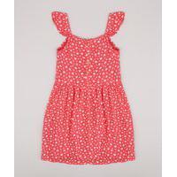 Vestido Infantil Estampado Floral Com Babado Sem Manga Rosa Escuro