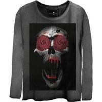 Camiseta Estonada Manga Longa Skull Eyes