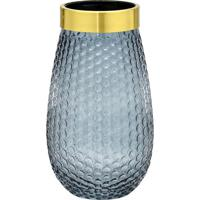 Vaso Decorativo- Cinza & Dourado- 29,5Xã˜16,5Cm- Mabruk