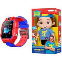 Kit Infantil Criança 1 Boneco Luccas Neto Articulado + 1 Smartwatch Relógio Inteligente Q12 Vermelho