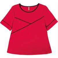 Blusa Manga Curta Em Tecido Flex Vermelho