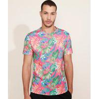 Camiseta Masculina Pipe Estampada Gratitud Floral Manga Curta Rosa