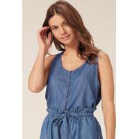 Regata Jeans Com Amarração - Azul