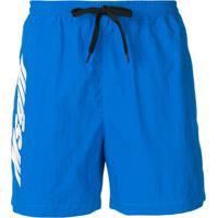 Msgm Short De Natação Com Logo - Azul
