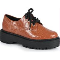 Sapato Feno Oxford Croco Caramelo Caramelo