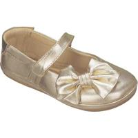 Sapato Boneca Em Couro Com Laã§O- Dourada- Kidskimey