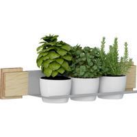 Kit Jardim Vertical 1003 Lyam Decor Green Com 03 Cachepots Bege