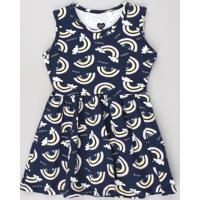 Vestido Infantil Estampado De Arco-Íris Sem Manga Azul Marinho