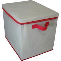Caixa Organizadora Com Tampa E Alça 28X31X38Cm Organibox Bege/Vermelho