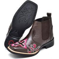 Botina Texana Click Calçados Cano Curto Bico Quadrado Bordado Cruz Feminina - Feminino