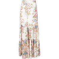 Auguste Sadie Floral Print Maxi Skirt - Branco
