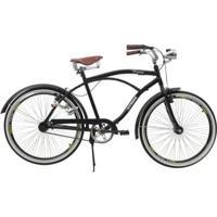 Bicicleta Athor Aro 26 Retro Preta C/ Paralmas E Farol - Unissex
