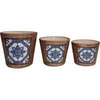 Jogo De Cachepots Florais- Marrom Claro & Azul Clarobtc Decor