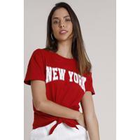 """Blusa Feminina """"New York"""" Com Nó Manga Curta Decote Redondo Vermelha"""