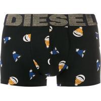 Diesel Cueca Boxer Com Logo Metálico - Preto