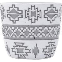 Cachepot Tribal- Branco & Cinza- 7,5Xã˜8,5Cm- Urburban