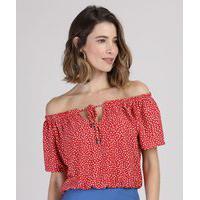 Blusa Feminina Ombro A Ombro Estampada De Poá Com Amarração Manga Curta Vermelha