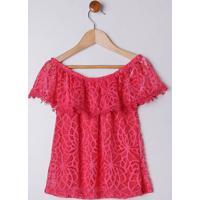 Blusa Ciganinha Juvenil Para Menina - Rosa