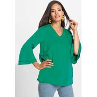 Blusa De Viscose Com Babados Verde