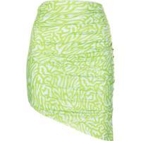 Maisie Wilen Saia Assimétrica Com Estampa Gráfica - Verde