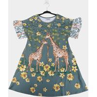 Vestido Infantil Nanai Girafas Manga Curta - Feminino
