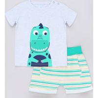 Conjunto Infantil De Camiseta Jacaré Manga Curta Cinza + Short Listrado Verde