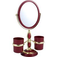 Espelho De Bancada Com Suportes- Espelhado & Vermelho Esjacki Design