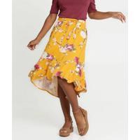 Saia Marisa Midi Mullet Estampa Floral Feminina - Feminino-Amarelo