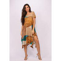 Vestido Saruel Amazonia Vital Malha Manga Curta Com Fendas Nas Laterais Folhas De Outono