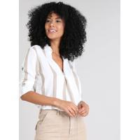 f538aa908 CEA  Camisa Feminina Listrada Manga Longa Decote V Off White