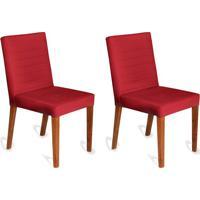 Conjunto Com 2 Cadeiras Dóris Veludo Vermelho