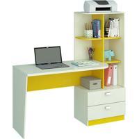 Mesa Para Computador Elisa 2Gv Branco E Amarelo