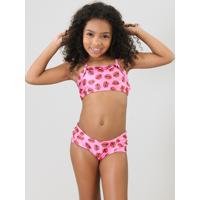 Biquíni Infantil Triya Tal Mãe Tal Filha Estampado Bocas Com Babado Proteção Uv50+ Pink