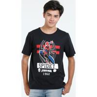 Camiseta Juvenil Estampa Homem Aranha Marvel