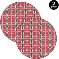 Capa Para Sousplat Mdecore Natal Pinheiros Vermelho 2Pçs