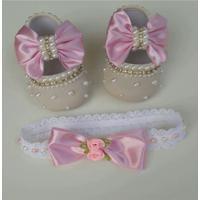 Sapato Para Bebê E Faixa Rosa Com Pérolas M