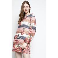 Vestido Em Tricô Floral- Rosa & Azul Marinho- My Favmy Favorite Things