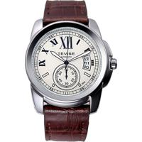 Relógio Tevise 999 Masculino Automático Pulseira De Couro - Branco