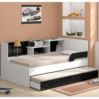 Bicama Solteiro Com Estante 0740 - Multimóveis - Branco / Preto