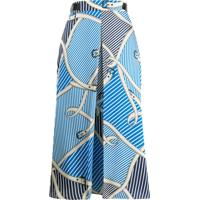 Msgm Mixed Print Wrap Skirt - Azul