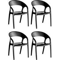 Conjunto Com 4 Cadeiras De Plástico Glass Preto