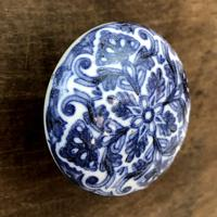 Puxador De Porta Floral Azul E Branco
