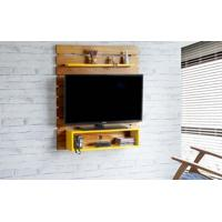 Painel Para Tv Standby - Estante Para Tv Até 45 Polegadas Nózes E Amarelo -100X23X115 Cm